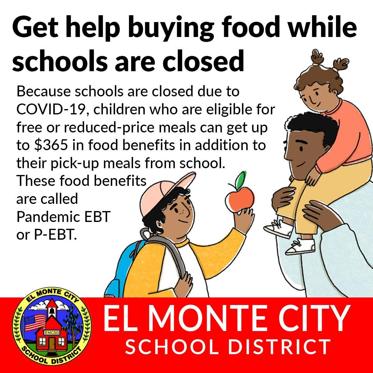 Benefits are called Pandemic EBT or P-EBT. See the fliers below for more information.