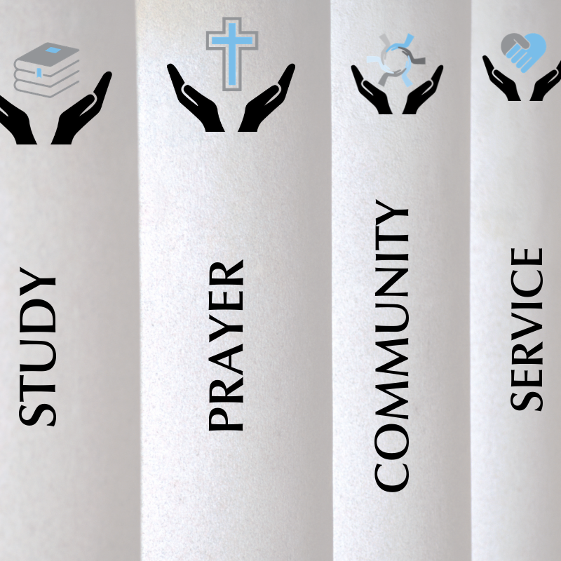 image of pillars with the words study prayer community and service