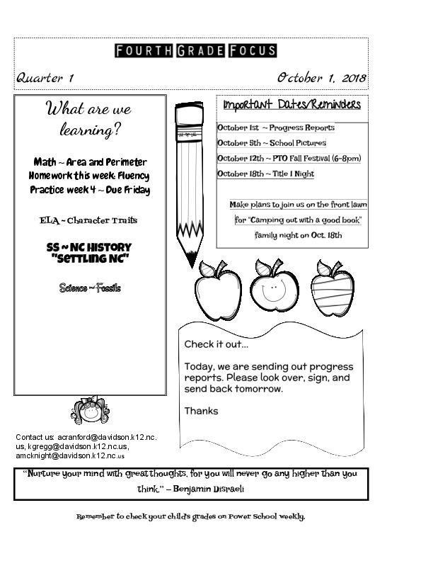 Newsletter Fourth Grade Pilot Elementary School