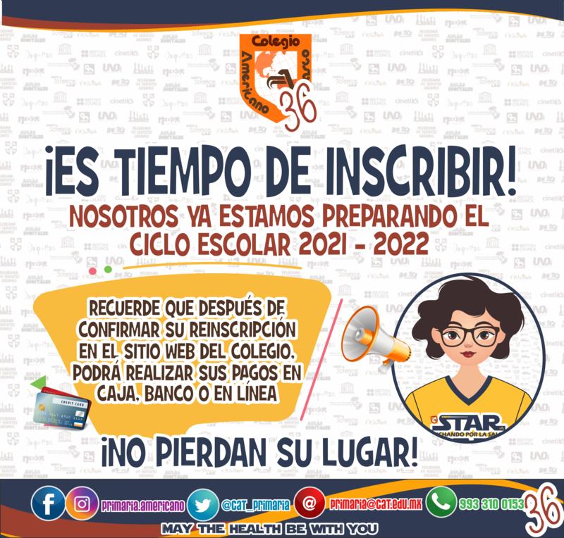 PRIMARIA: COMPLETA EL PROCESO DE INSCRIPCIÓN 2021 - 2022 Featured Photo