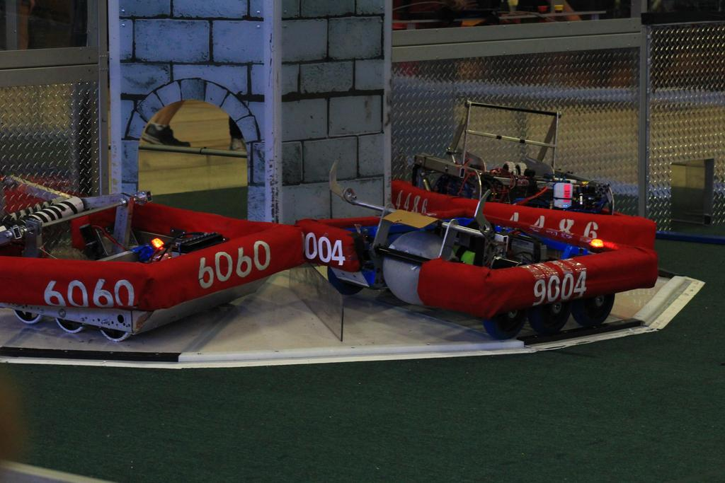 Alliance robots parked on Tower