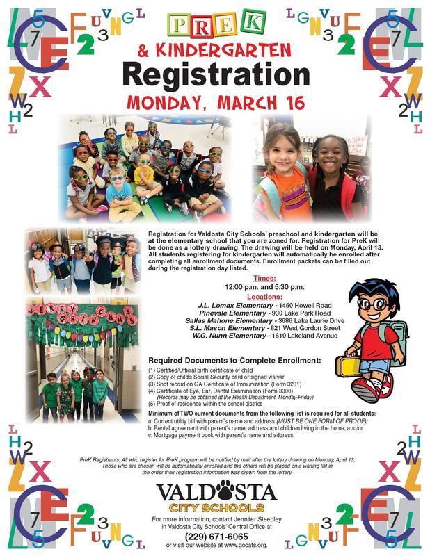 Pre-K and Kindergarten Registration Flyer 2020