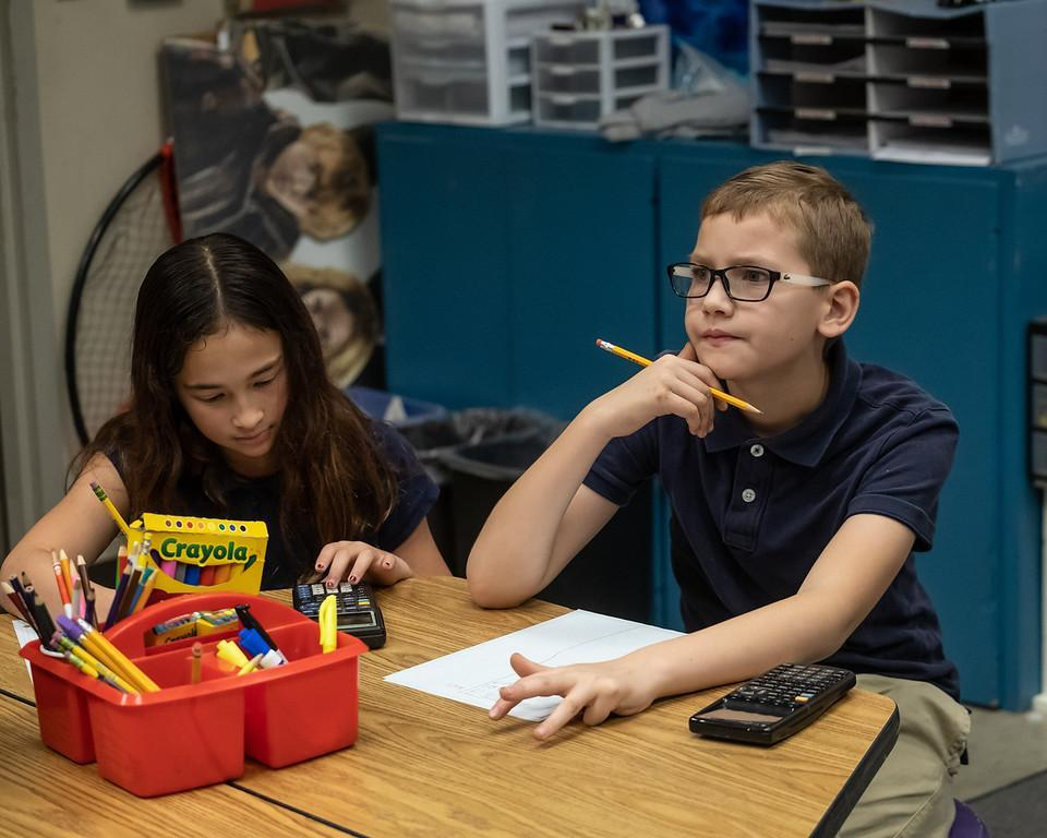 Photo of two students participating in classroom activities.