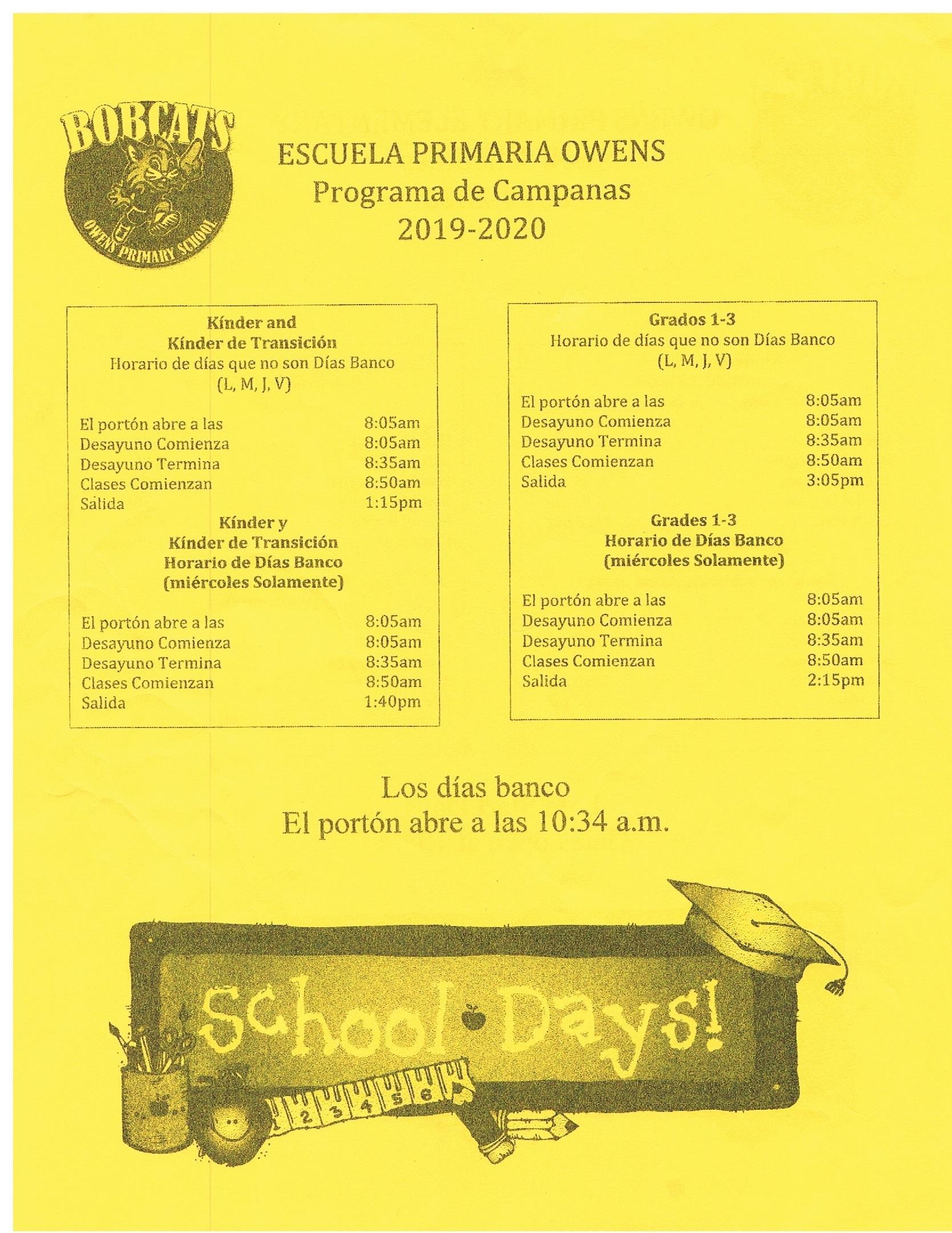 Owens Bell Schedule Spanish