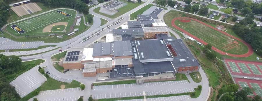 Arial view of the high school building.