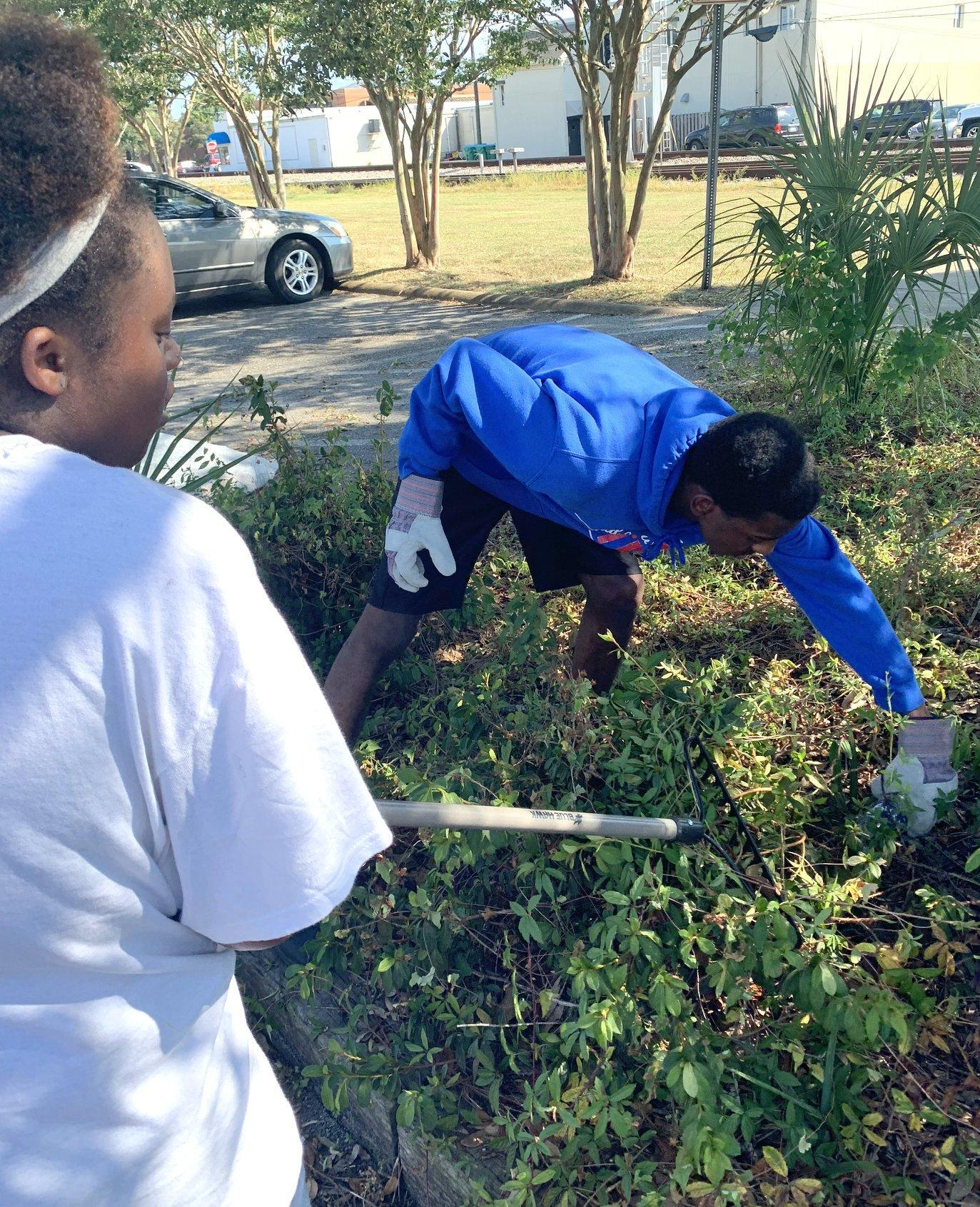 Students cleaning flower beds