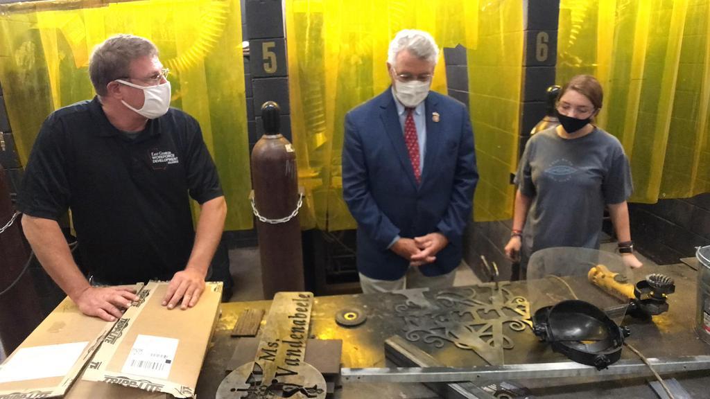 looking at metalwork