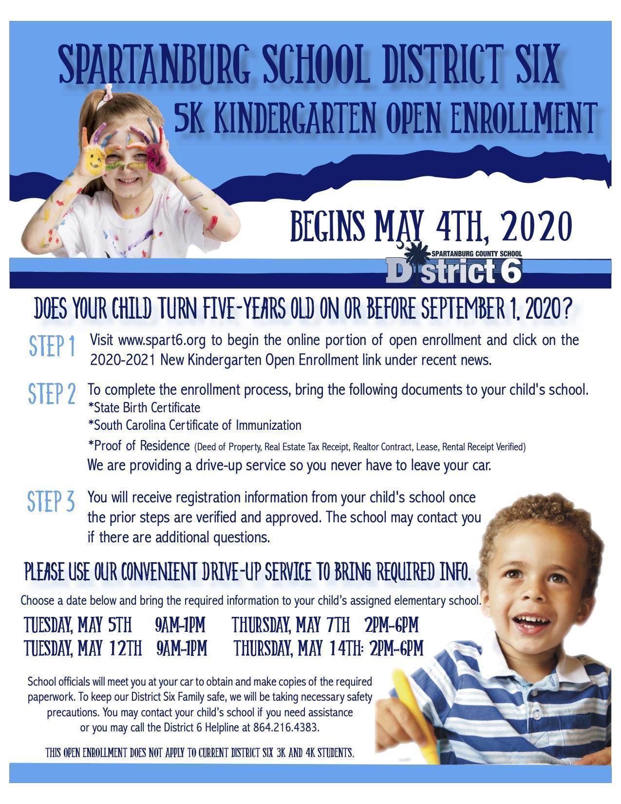 Kindergarten Open Enrollment Flyer in English