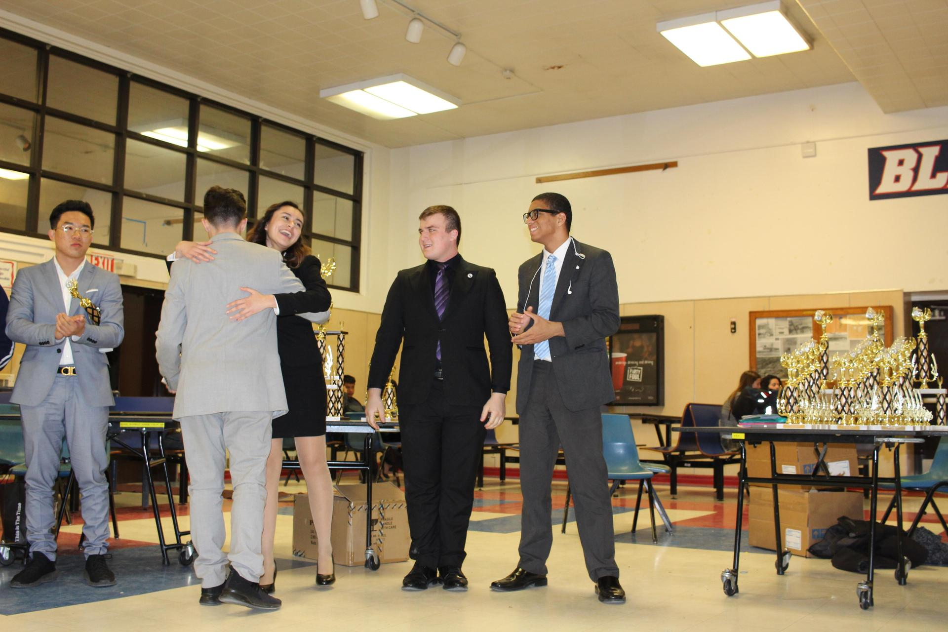 Andrea Jimenez reacts to winning the Speech and Debate Valley Championship for Original Oratory.