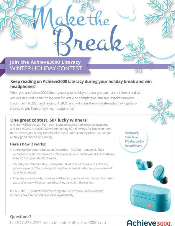 Achieve 3000 winter contest flyer