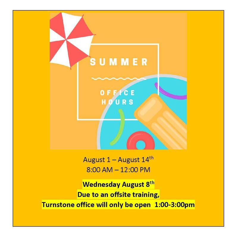 Summer Office Hours August 8 are 1:00 to 3:00 PM
