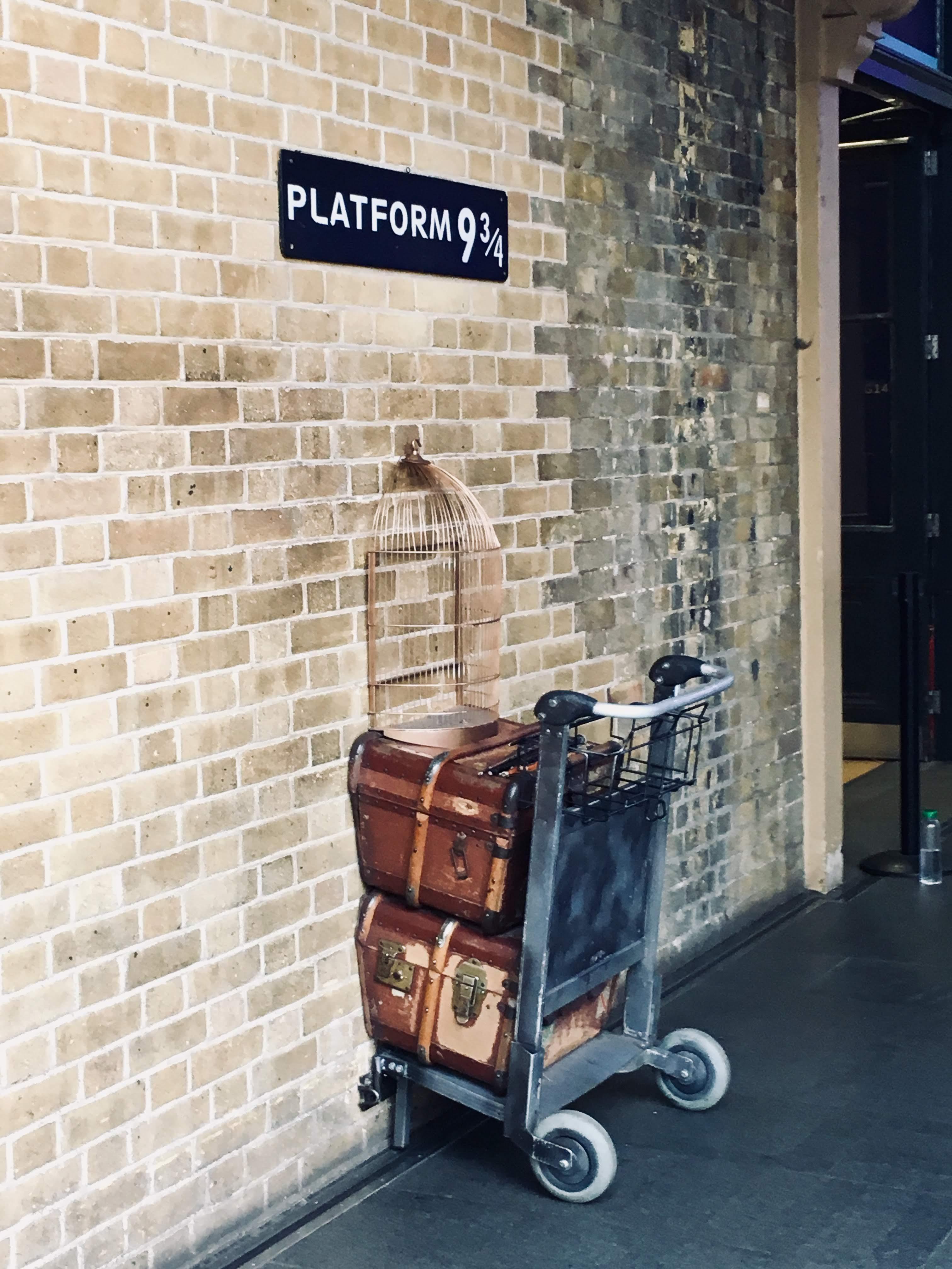Platform 9 3/4 at Kings Cross Station in London
