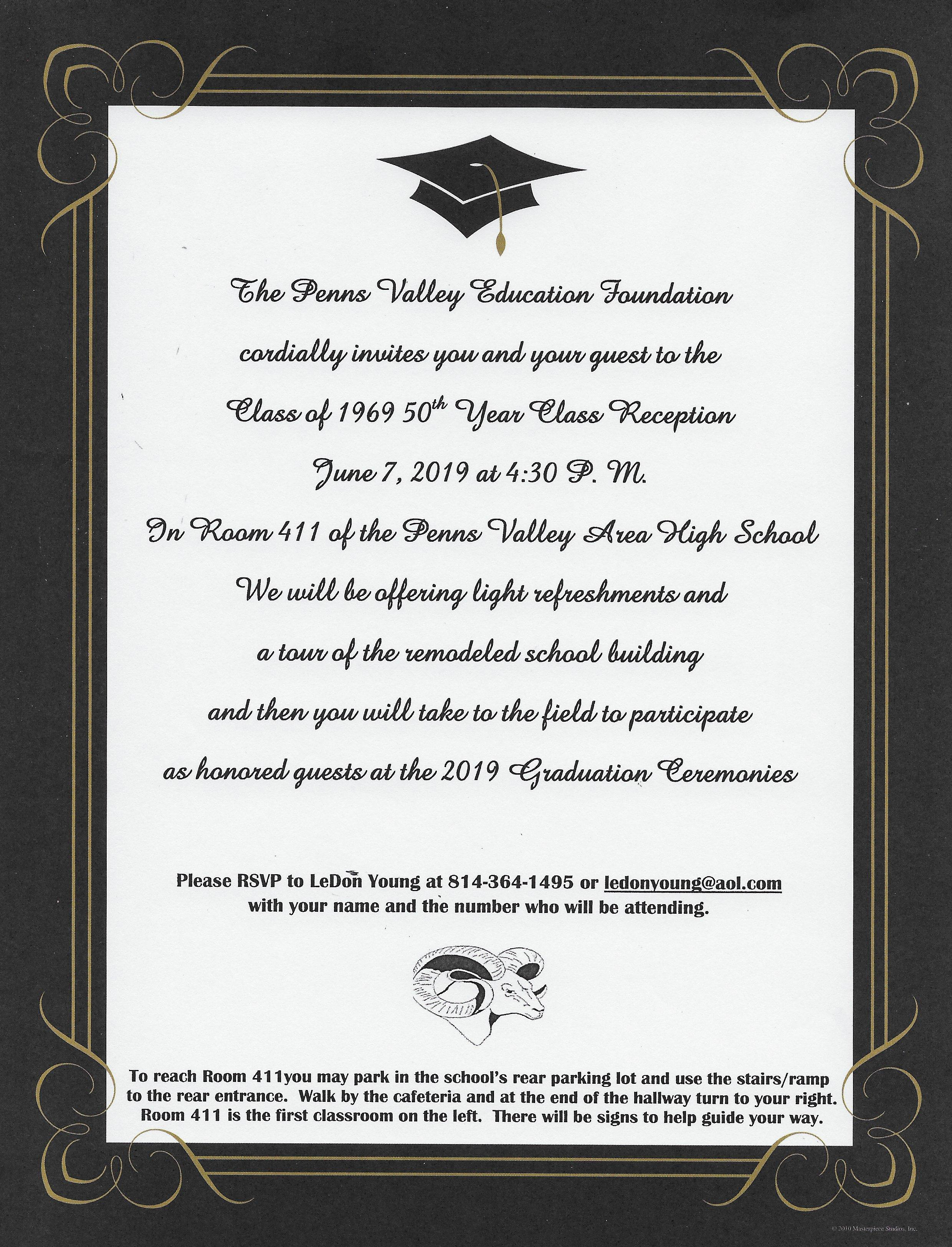Class of 1969 alumni invitation to graduation