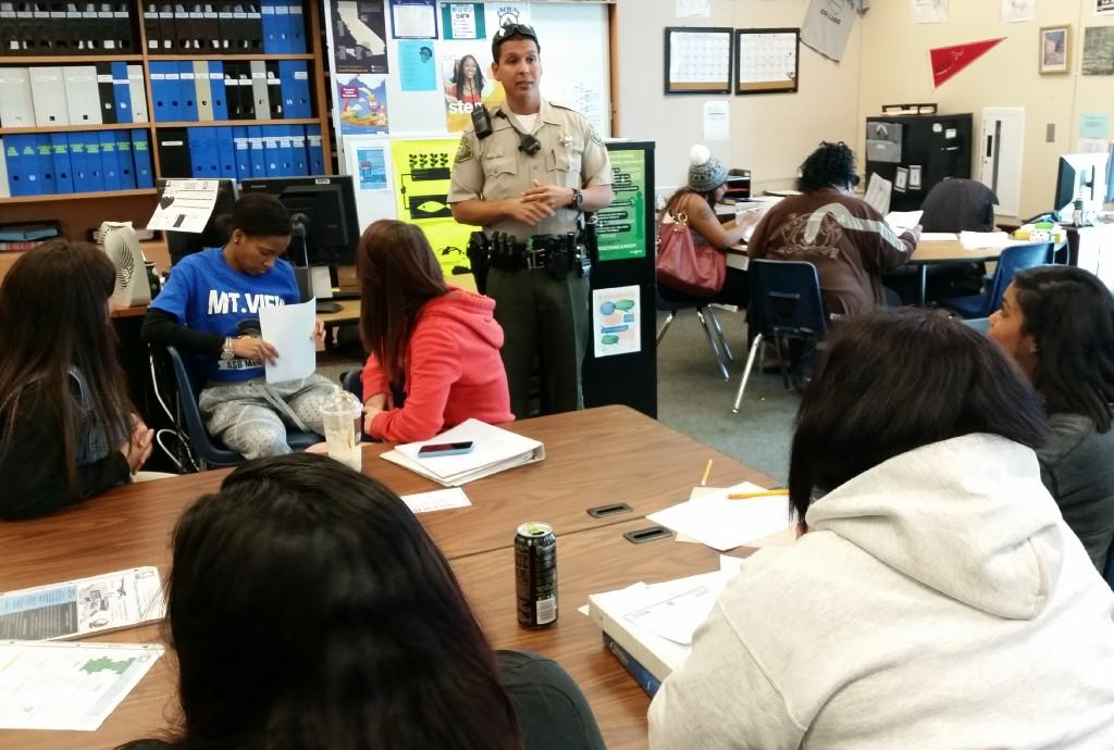 Riverside County Sheriff Payan is speaking to the students