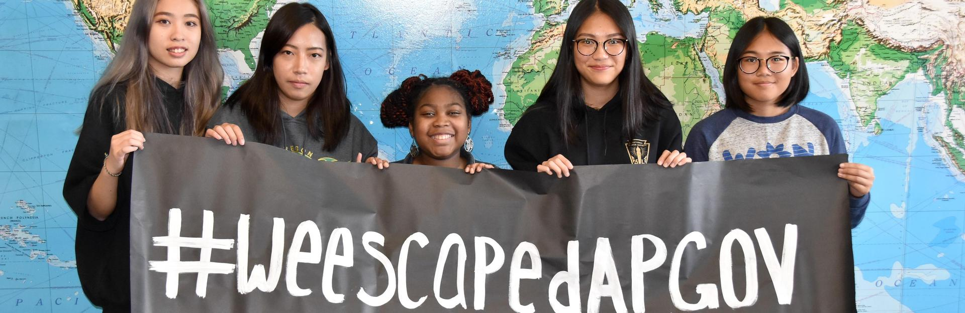 AP Gov students with Escape banner