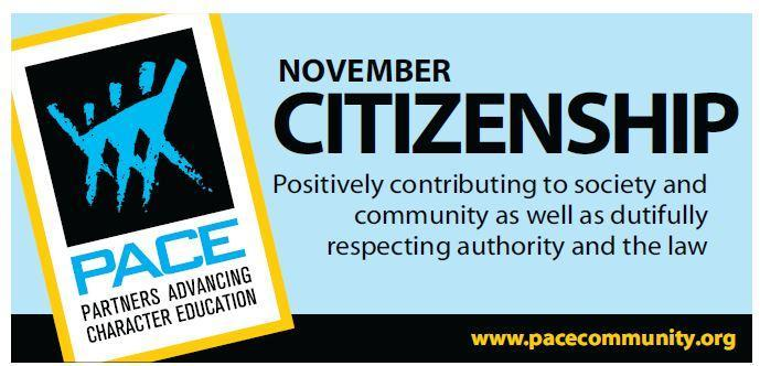 November PACE Character Trait - Citizenship. Thumbnail Image