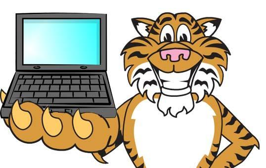 A tiger holding a laptop