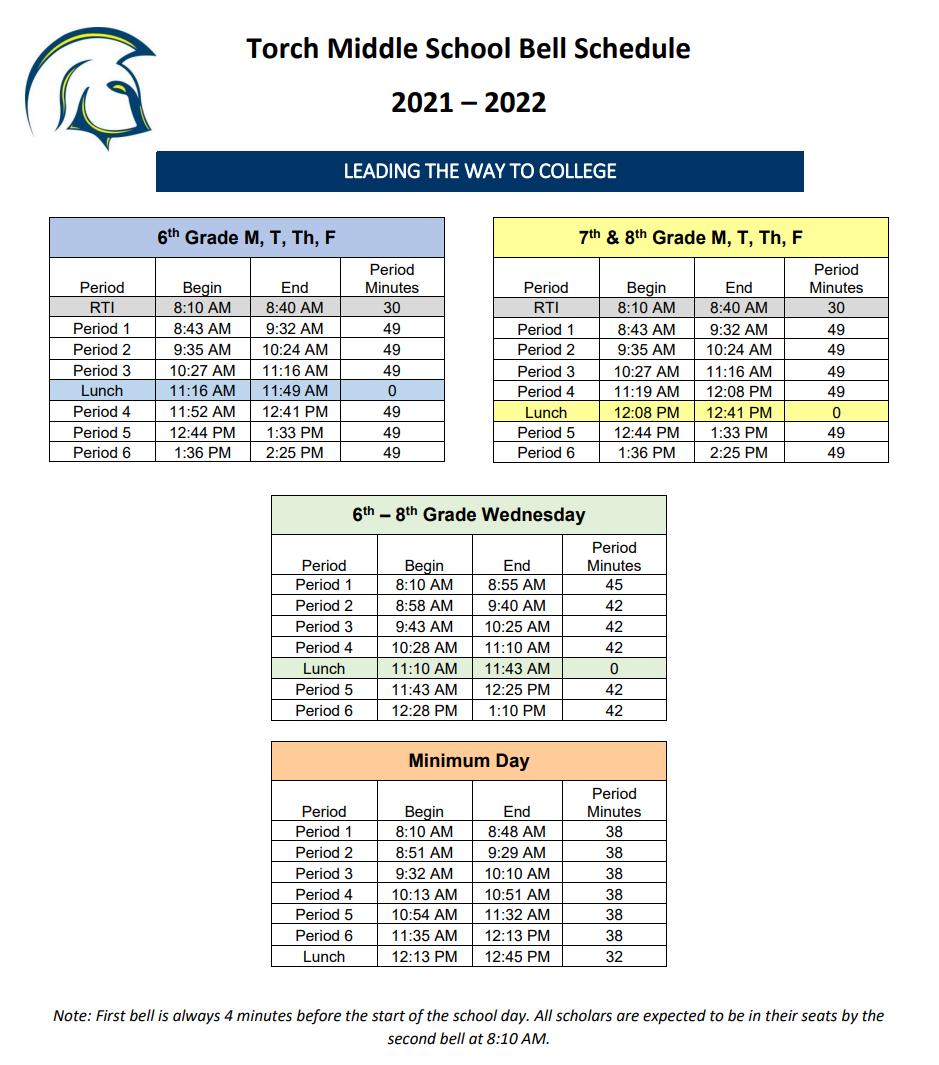 Torch Bell Schedule 2021-2022