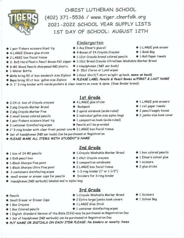 School Supply List K-8 Featured Photo