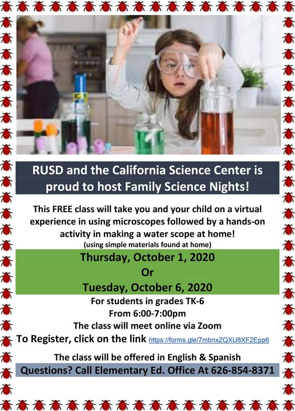 RUSD Family Science Nights