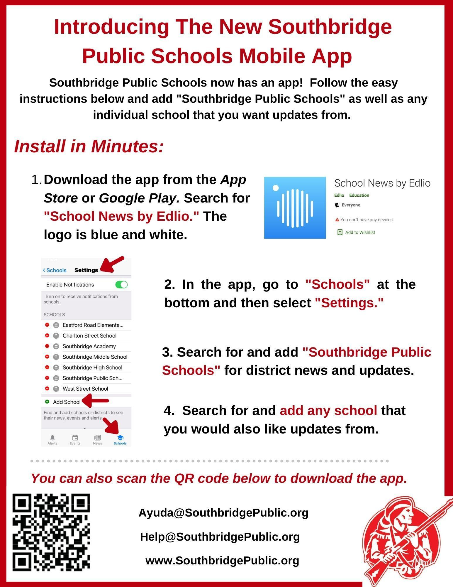 Flyer in English about the Southbridge Public Schools App.  All information is also in text on this page.