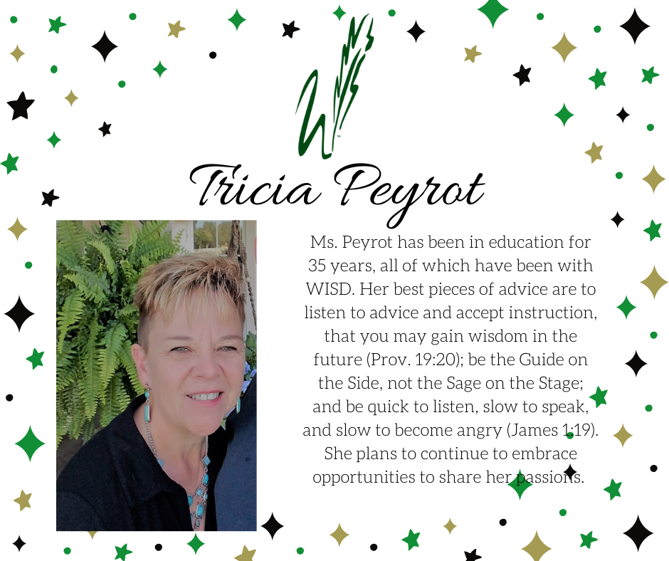 graphic announcing retirement of tricia peyrot