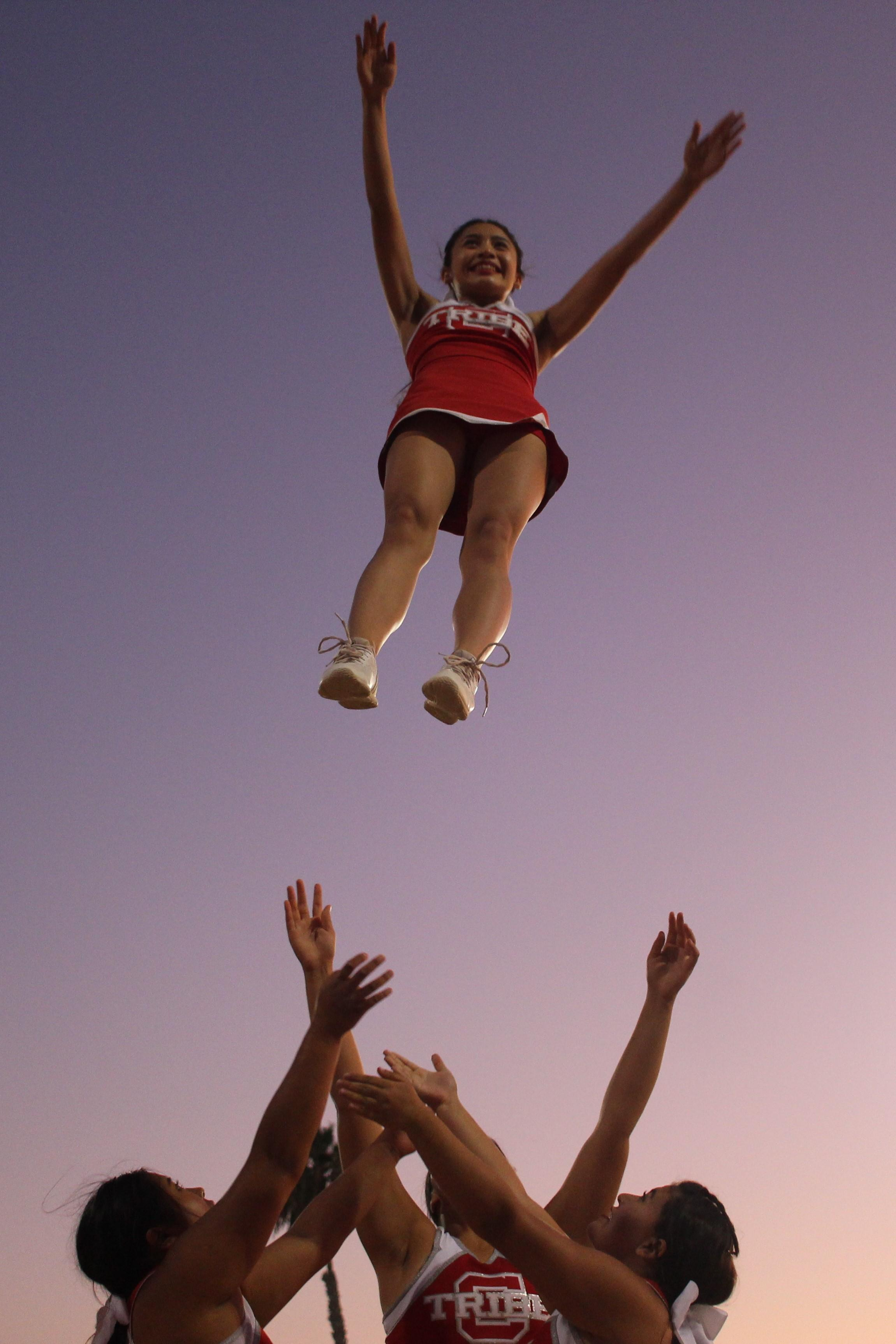 Varsity Cheerleaders at the game