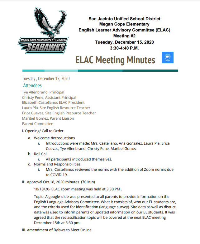 12-15 Meeting Agenda