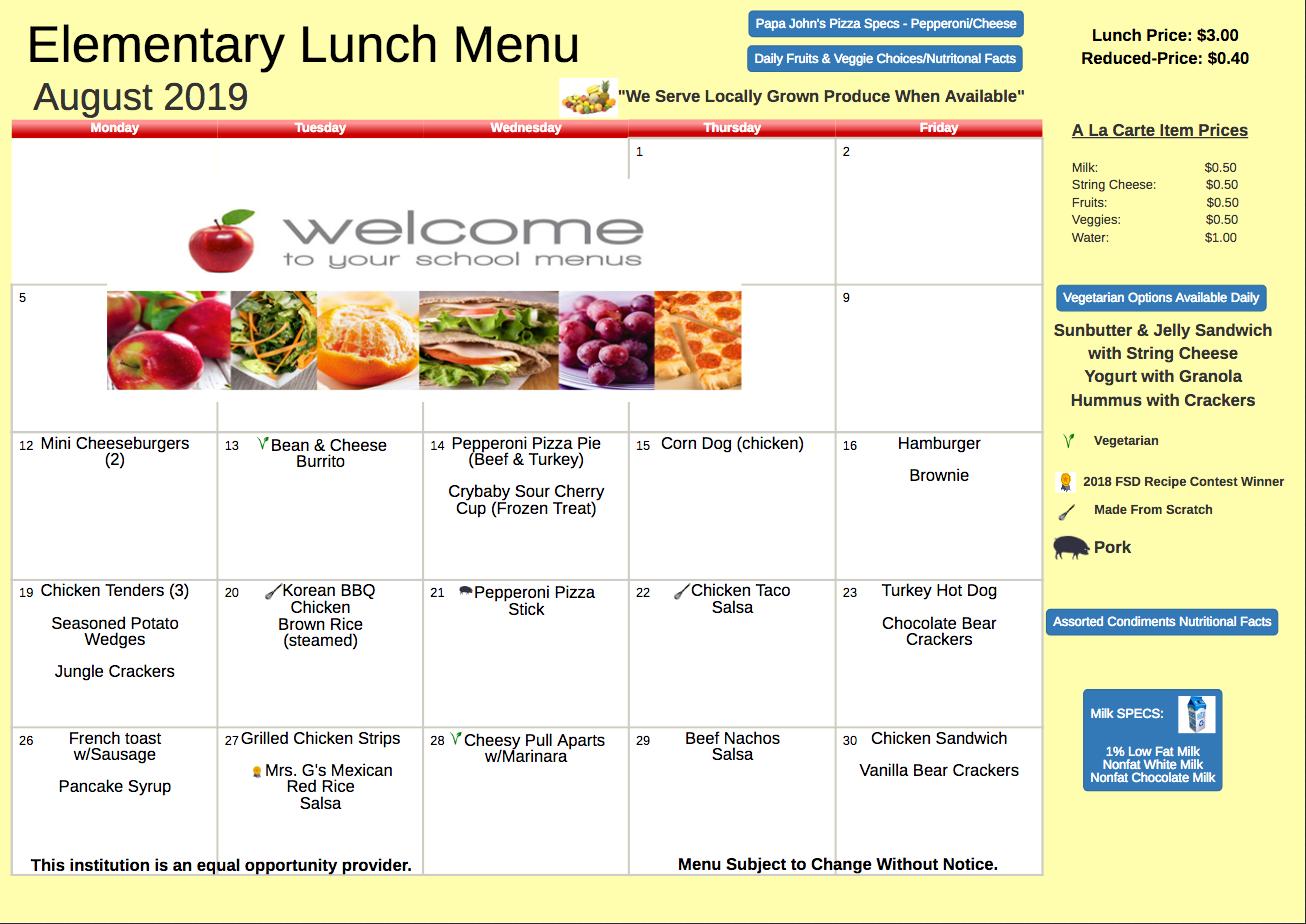 August 2019 Elementary Lunch Menu
