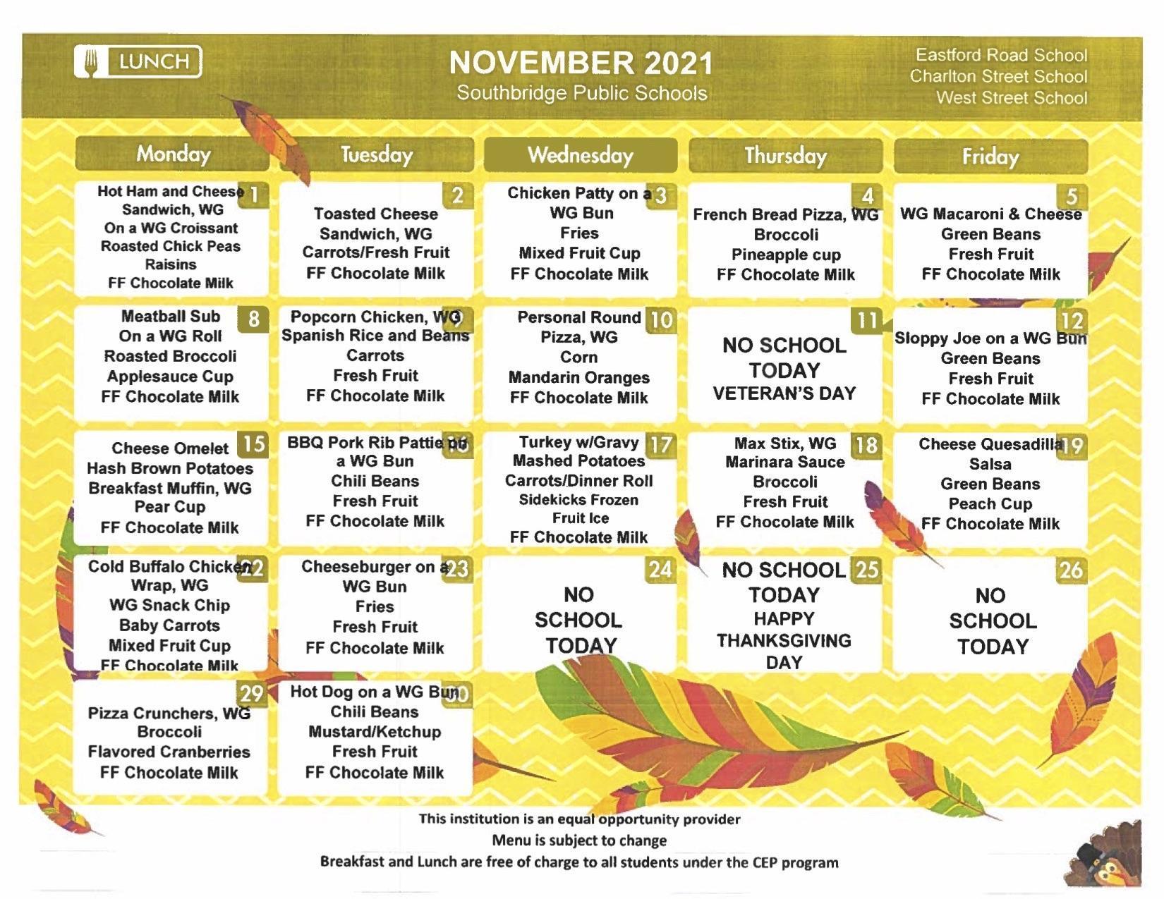 Elementary schools menu November 2021