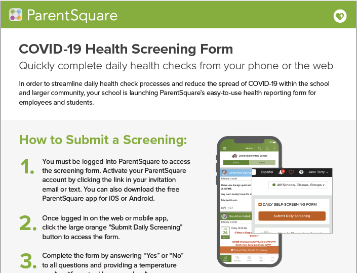 Parent Square Health Screening App Featured Photo