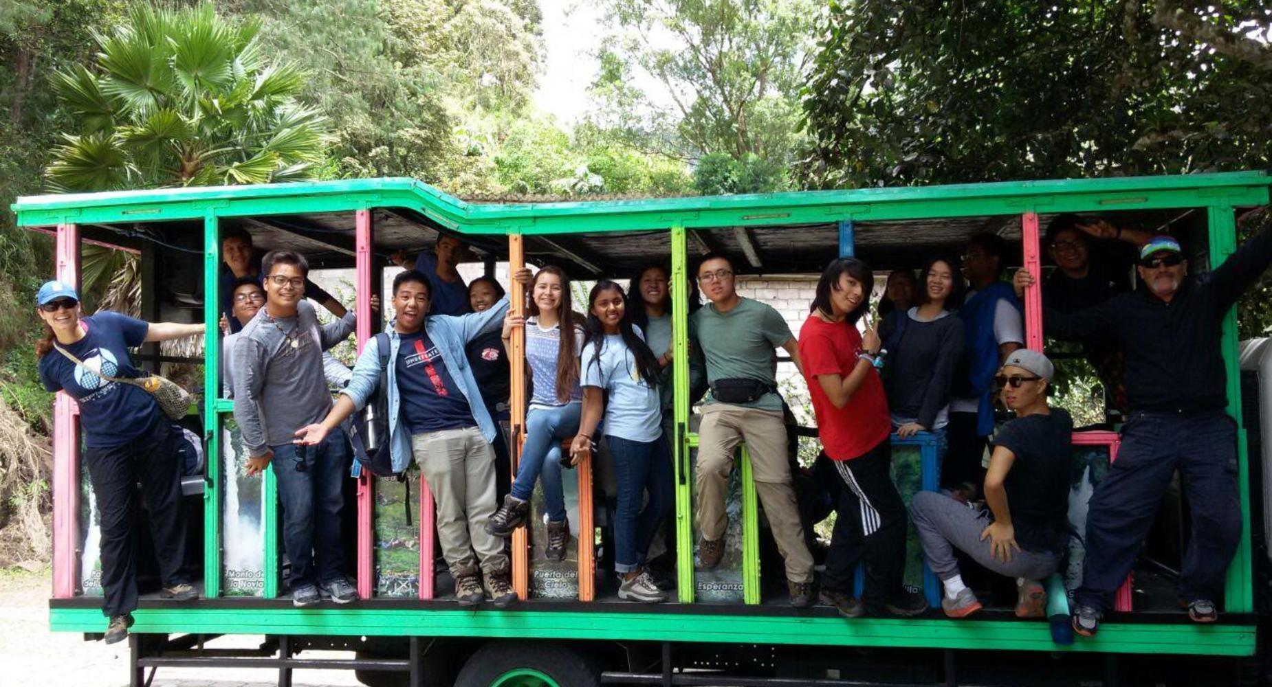 Students on a bus in Ecuador