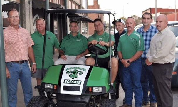 The Eunice High School Booster Club acknowledged the generous donation of a golf cart to EHS Football team from Mark and Becky Daigle. Steve Bollich with Mudbugs Golfcarts painted it after it was rebuilt by our instructors Randy Turner, Danny Soileau, and Kerry Fontenot at Eunice Career & Technical School.