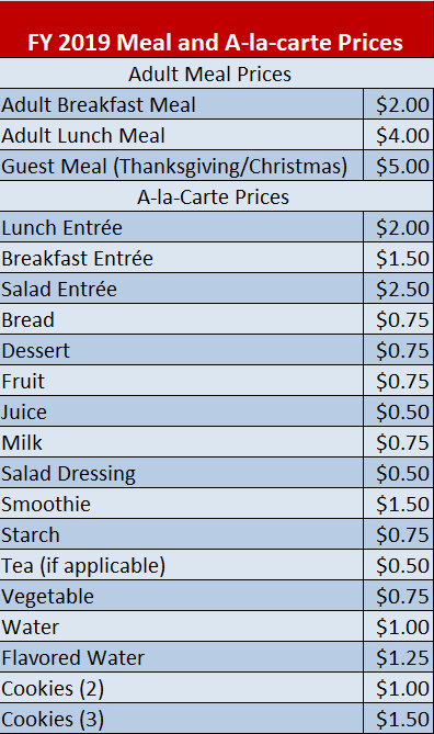 FY 2019 Meal and A-la-carte Prices	 Adult Meal Prices  	 Adult Breakfast Meal	$2.00 Adult Lunch Meal	$4.00 Guest Meal (Thanksgiving/Christmas)	$5.00 A-la-Carte Prices 	 Lunch Entrée	$2.00 Breakfast Entrée	$1.50 Salad Entrée	$2.50 Bread	$0.75 Dessert	$0.75 Fruit	$0.75 Juice	$0.50 Milk	$0.75 Salad Dressing	$0.50 Smoothie	$1.50 Starch	$0.75 Tea (if applicable)	$0.50 Vegetable	$0.75 Water	$1.00 Flavored Water	$1.25 Cookies (2)	$1.00 Cookies (3)	$1.50