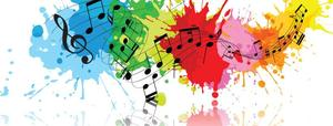 musical notes on top of a paint splatter background