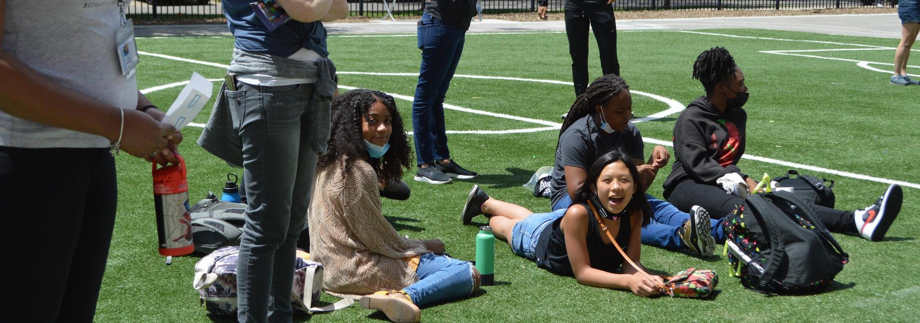 Children watching  game