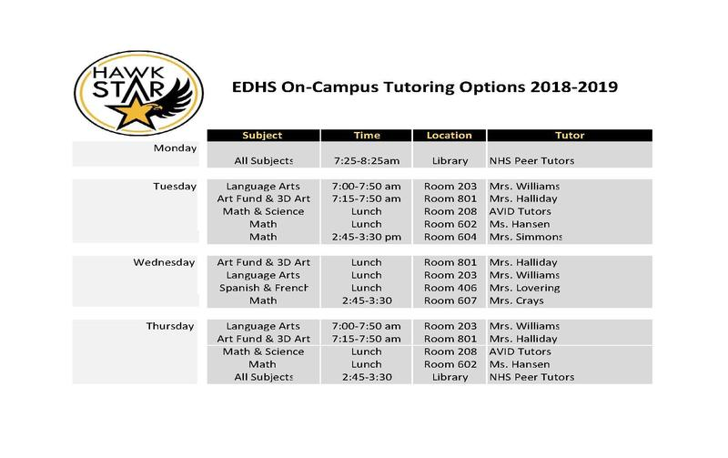 New Tutoring Schedule Thumbnail Image
