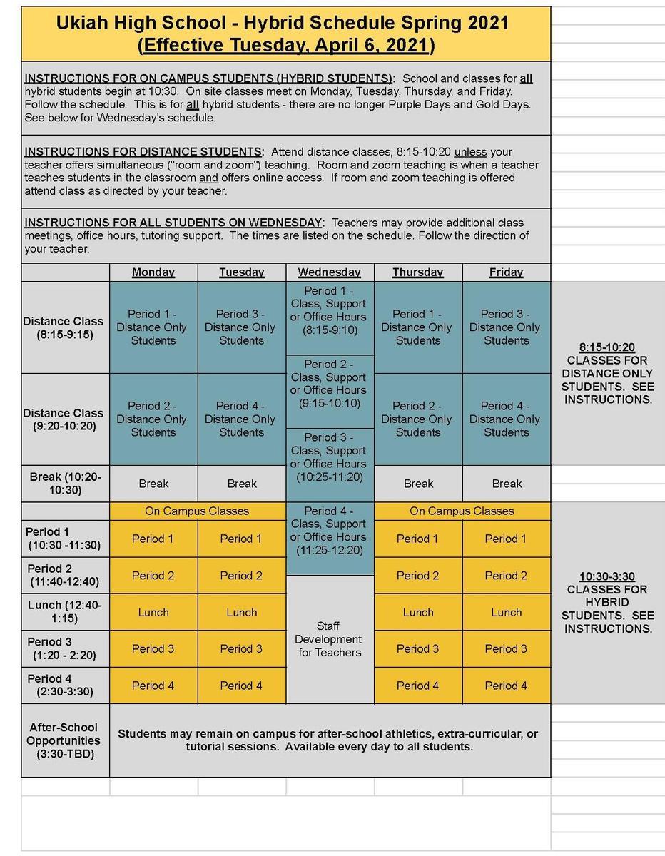 Updated Spring Schedule