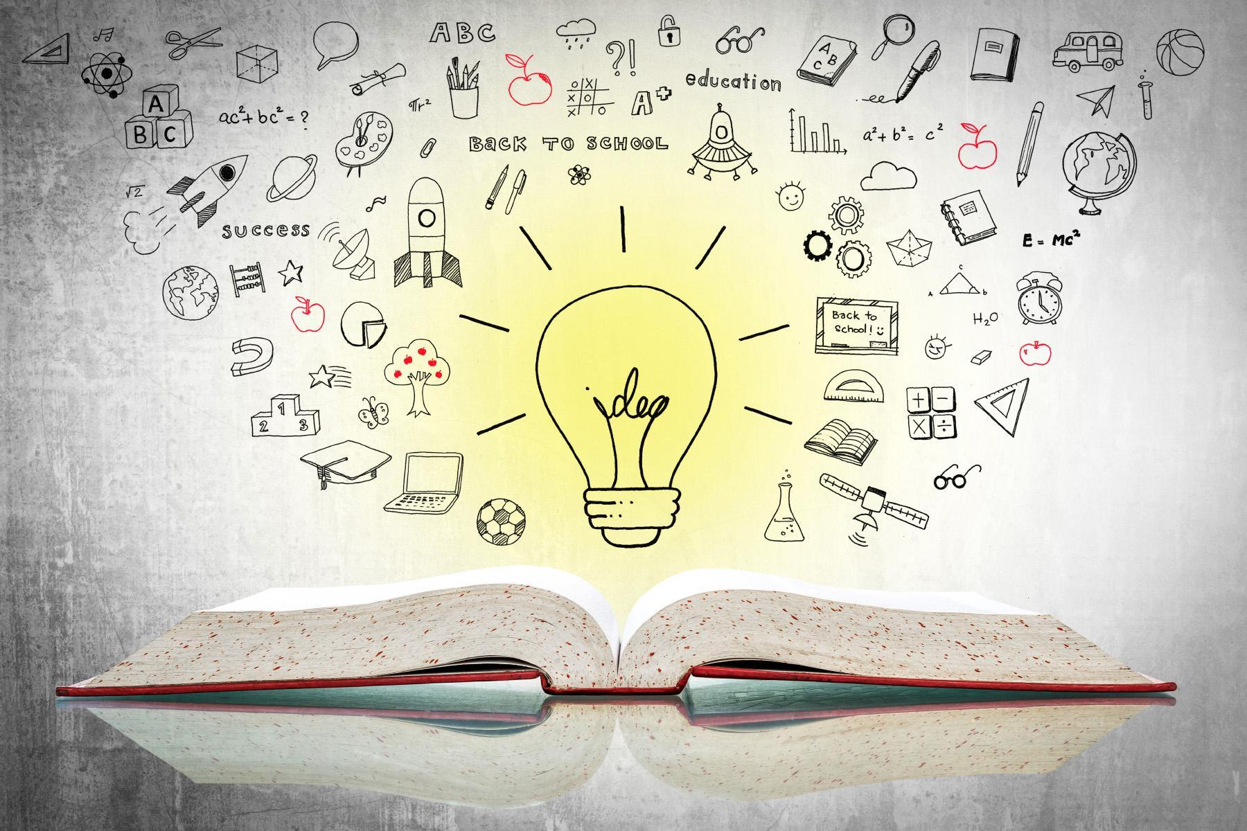 An illustration of an open book with a lightbulb and education-related doodles