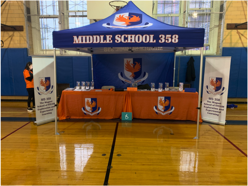 MS 358 information booth at the District 28 Middle School Fair