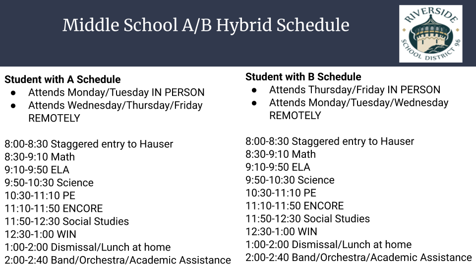 Option 1: Middle School A/B Hybrid Schedule