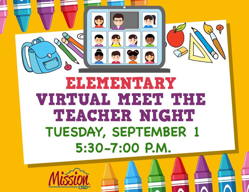 Virtual Meet the teacher night flyer with times