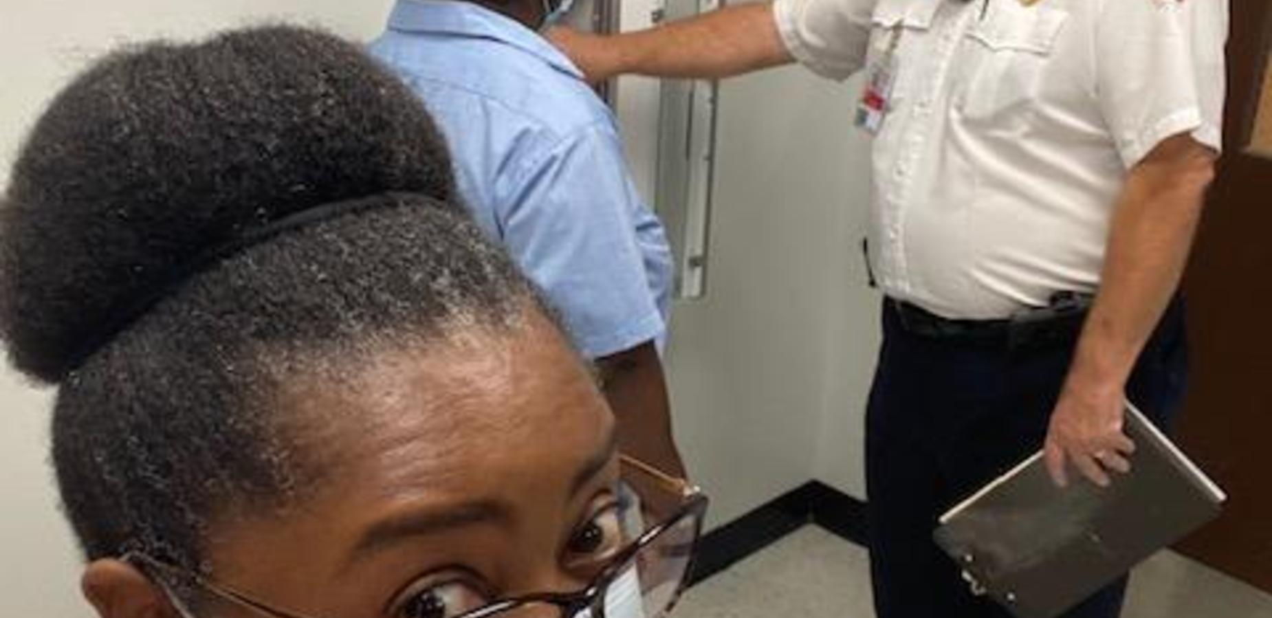 Dr. Tindal and Mrs. Tina with Fire Marshal!