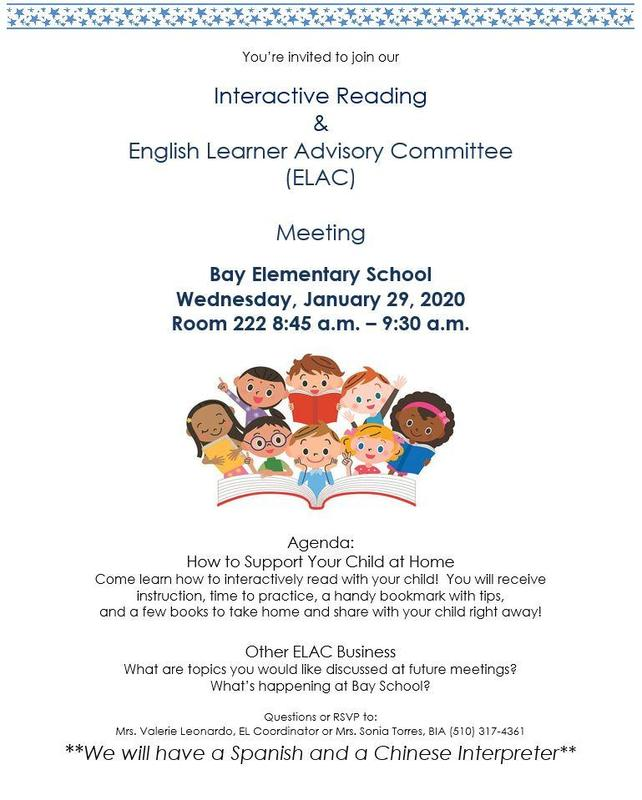 Interactive Reading & English Learner Advisory Committee  (ELAC) Meeting Featured Photo