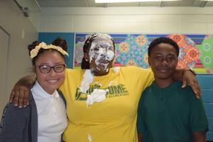 Summit Elementary principal, staff members, and a parent took a pie to the face!