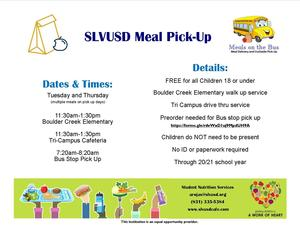 Food Service Information Tuesday and Thursday 11:30-1:30 at BCE and the Tri-Campus