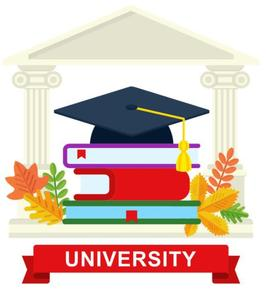 University building. In front of the building is a stack of books with a graduation cap on top of the books. Leaves surround the book and at the bottom of the image is a banner that says