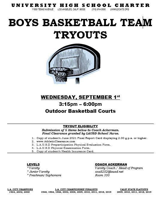 Boys basketball fall tryouts - sept 1