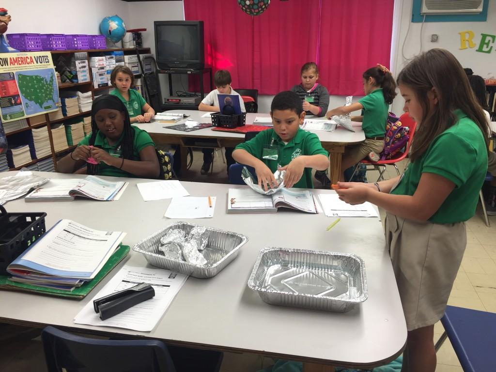 4th graders working on plant cell project