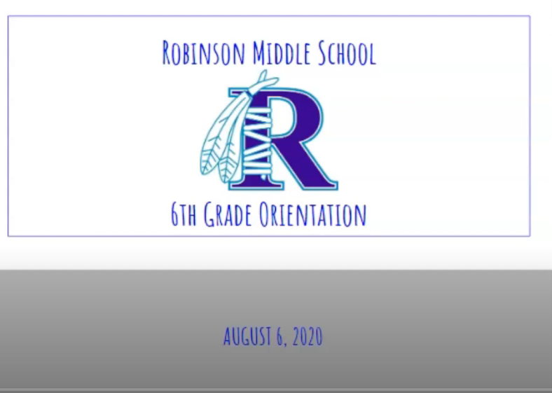 Slide with Blue R that says Robinson Middle School 6th Grade Orientation